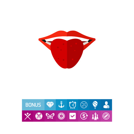 Icon of mouth with tongue sticking out. Part of human body, face, teasing, taste. Body part concept. Can be used for topics like sweet food, heath, fun
