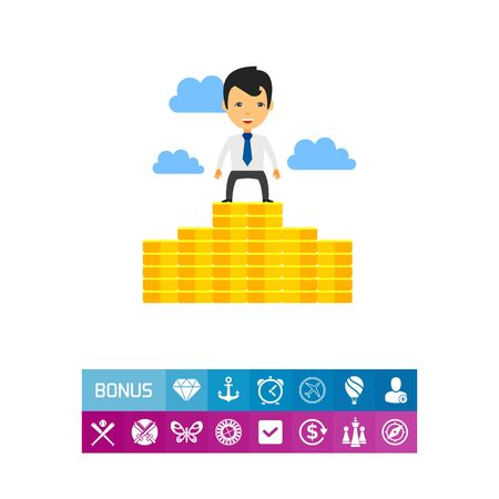 colourful tie: Proud Businessman on Money Staircase Icon