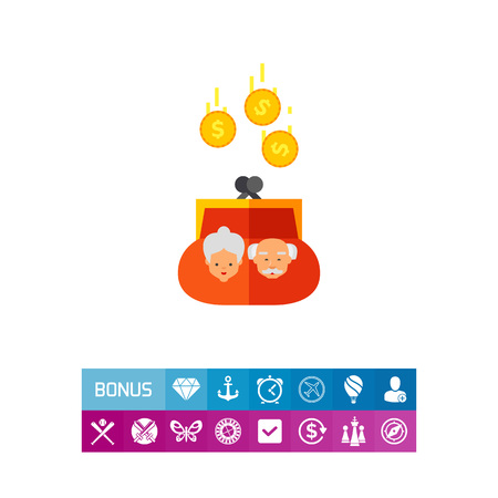 Purse with Coins as Pension Concept Icon