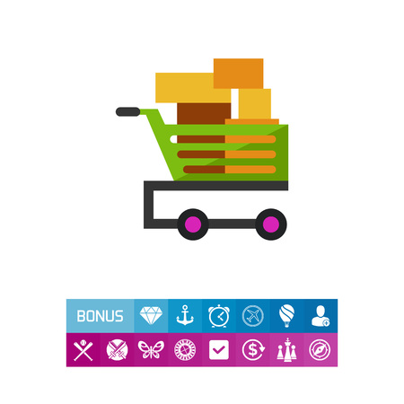 Shopping cart with boxes icon Illustration