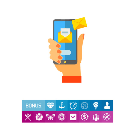 Smartphone with Emails in Hand Vector Icon