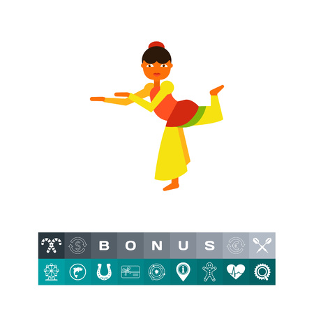 Indian Woman Dancing Icon Illustration