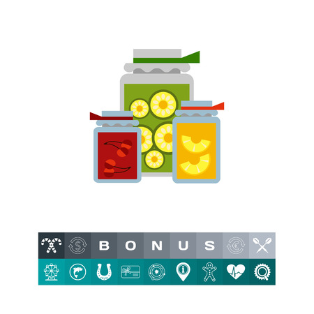 preserved: Multicolored vector icon of jam jars with label and paper covers