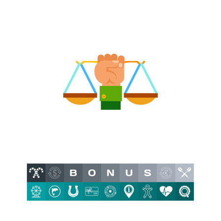 scale of justice: Illustration of hand holding scales. Justice, legislation, law. Justice concept. Can be used for topics like law, legislation, justice