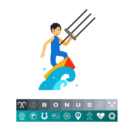 kite surf: Smiling kite surfer surfing on board in sea. Wave, wind, extreme. Kite surfing concept. Can be used for topics like sport, health, leisure.