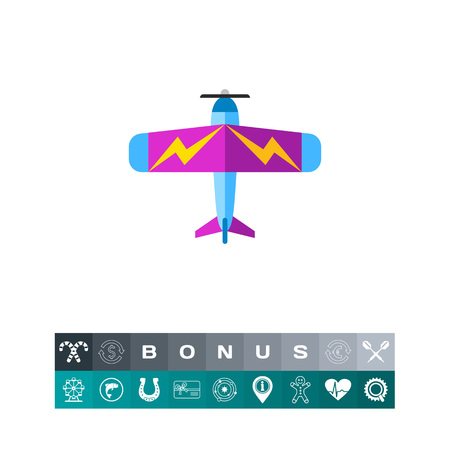 Colorful light plane with lightning pictures on its wings, top view. Passenger, private, flight. Plane concept. Can be used for topics like aviation, transport, sport.