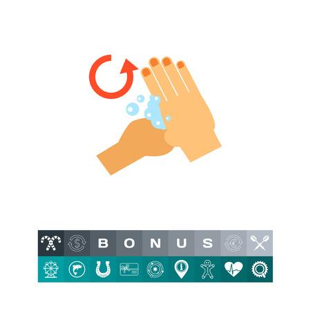 lavamanos: Mano frotando base del pulgar. Limpia, jabón, hábito. Lavarse las manos concepto. Puede ser utilizado para temas como la higiene, la salud, la asistencia sanitaria.