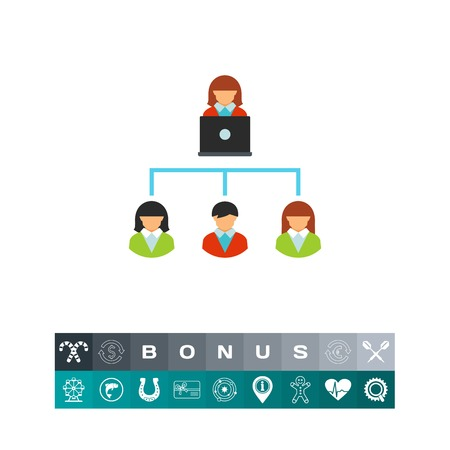 Vector icon of scheme of relationships with clients. Outsourcing, customer service, management. CRM system concept. Can be used for topics like business, communication, technology