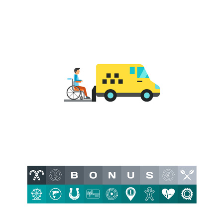recuperation: Icon of minibus for disabled people. Taxi, patient, automobile. Handicap concept. Can be used for topics like transportation, health, service