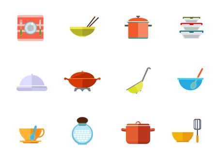 stewing: Kitchen utensils icon set