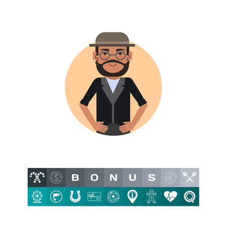 jewish: Jewish man wearing glasses and hat Illustration