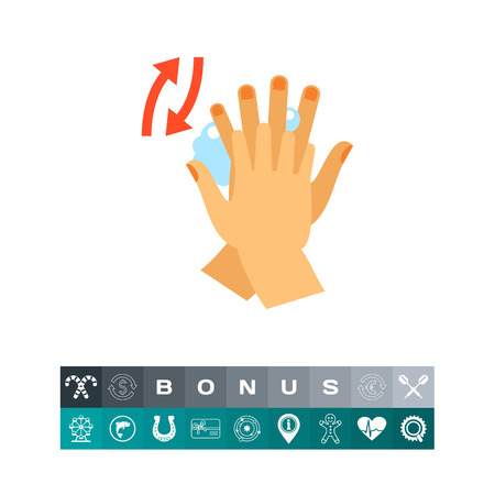 lavarse las manos: Rubbing Between Fingers Icon Vector illustration. Vectores