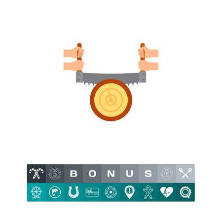 logging: Sawing tree trunk icon Vector illustration.