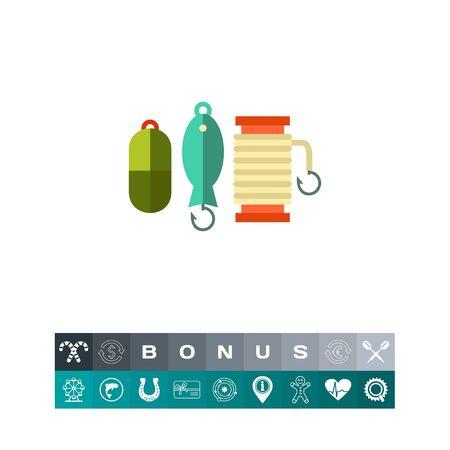 Spoon baits collection vector icon.