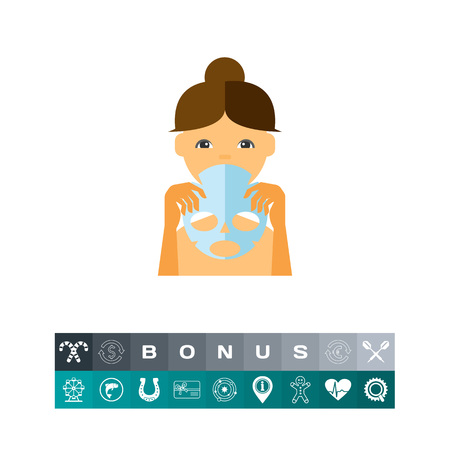 Woman Holding Facial Sheet Mask Icon Vector illustration. Illustration