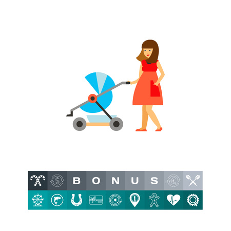 Icon of woman walking with stroller. Childbirth, family, nursing. Motherhood concept. Can be used for topics like pregnancy, parenthood, maternity Illustration