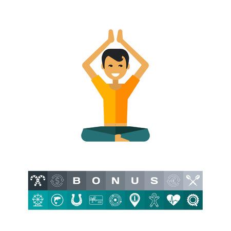 Icono multicolor del hombre sentado levantando las manos