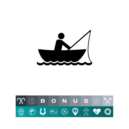 to spend the summer: Man fishing in boat. Summer, fish, river. Fishing concept. Can be used for topics like sport, leisure, fishery.