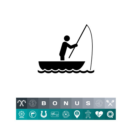 Man in boat fishing. Leisure, tackle, lake. Fishing concept. Can be used for topics like fishing, sport, fishery.