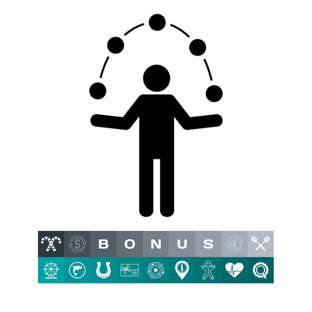 Man Juggling Balls Icon Illusztráció