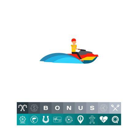Man Riding Jet Ski Icon Illustration