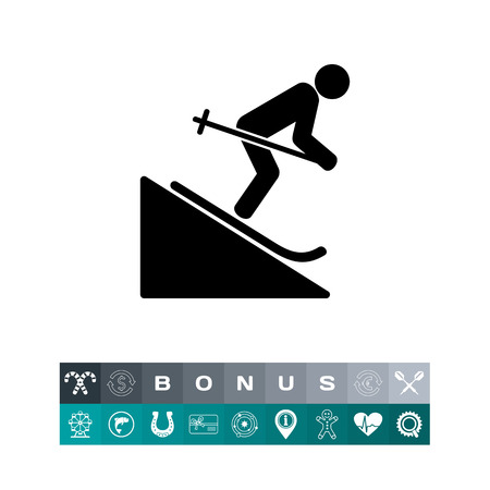 slope: Man Skiing Downhill Icon Illustration