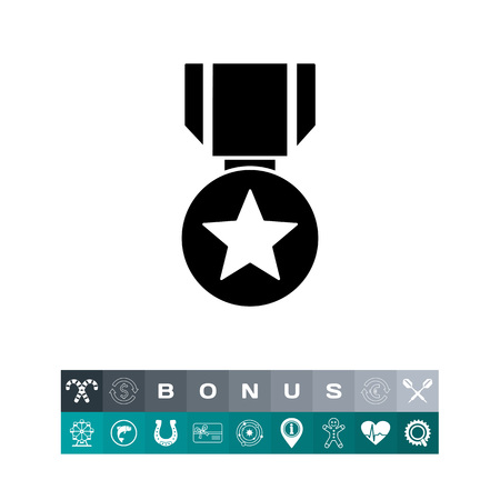 Monochrome vector icon of round medal with star on striped ribbon