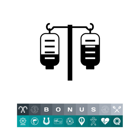 Vector icon of medical drip with two iv bags Illustration