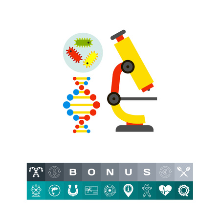 Illustration of bacteria, DNA molecule and microscope. Science, biology, school. Biology concept. Can be used for topics like school, education, science, knowledge