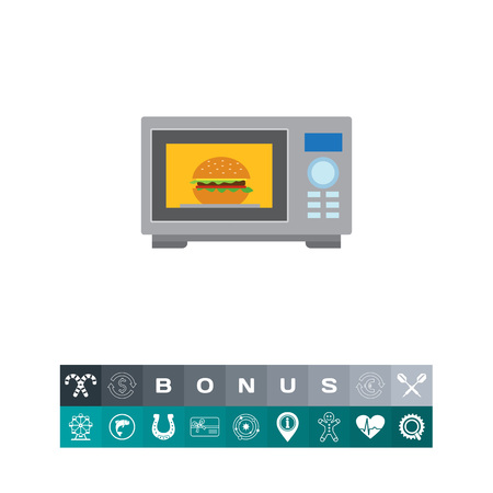 Vector icon of kitchen microwave oven with hamburger inside