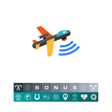 Multicolored flat vector icon of combat aerial military drone Illustration