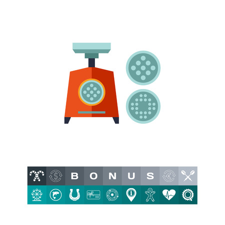 meat grinder: Multicolored vector icon of electric mincing machine with two replaceable grids