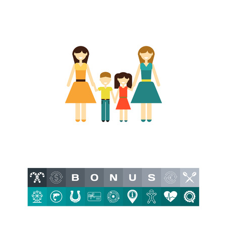 Non-traditional family with children Illustration