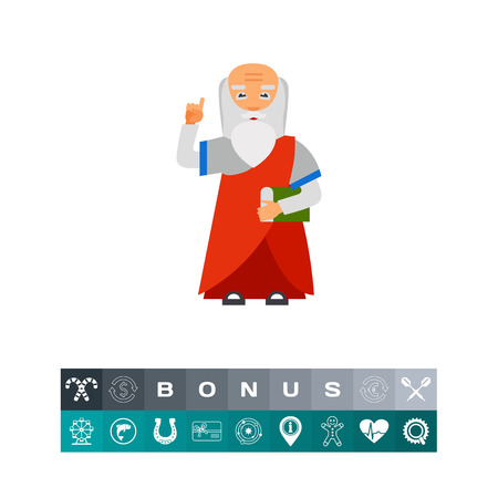 Old Man with Book as Wisdom Concept Icon
