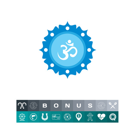 Icon of om sign on background with floral elements Illustration