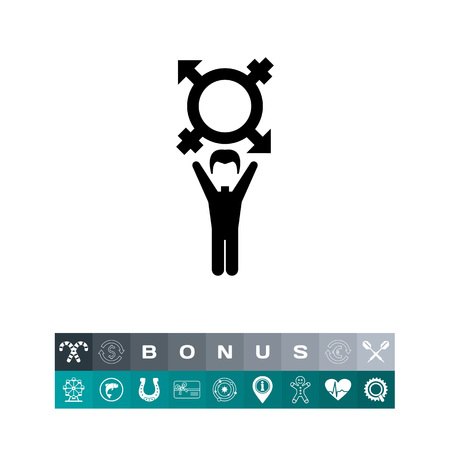 On coming out vector icon. Black illustration of male character with transgender symbol