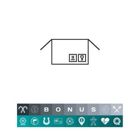 Open parcel icon illustration.