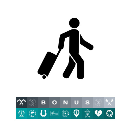 case: Passenger Pulling Rolling Bag Icon
