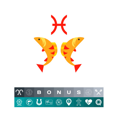 Pisces sign and two fishes. Forecast, horoscope, animal. Astrology concept. Illustration
