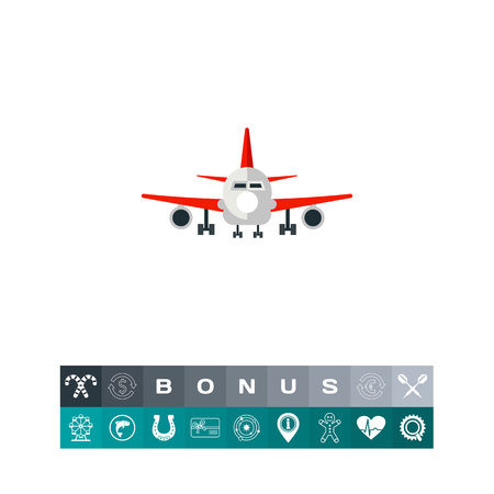 Plane Front View Icon Illustration