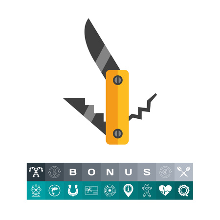 Multicolored vector icon of pocket knife, fork and corkscrew