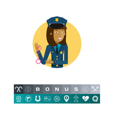 Female character, portrait of young Asian policewoman holding handcuffs Illustration