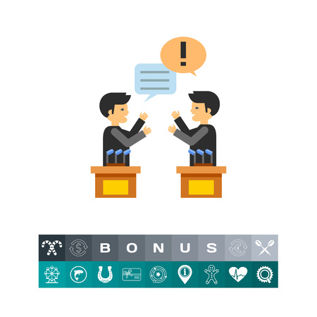 Two male characters in political debates. Emotions, argument, opinion. Debates concept. Can be used for topics like politics, communication, sociology. Ilustracja