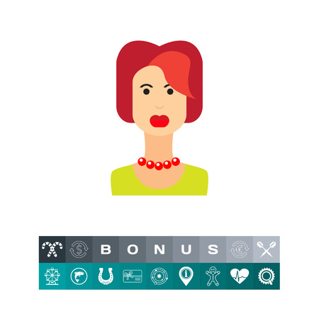 Female character icon, portrait of young redheaded woman Illustration