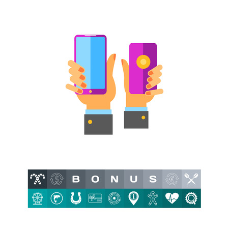 Two hands holding purple smartphones. User, sale, demand. Product placement concept. Can be used for topics like business, technology, marketing.