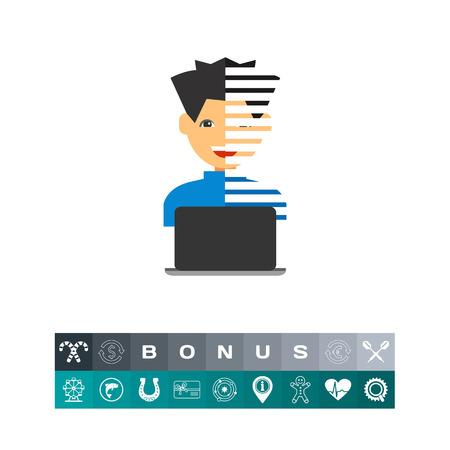Young man with open laptop. Digital, data, intelligent. Programmer concept. Can be used for topics like programming, Internet, technology.