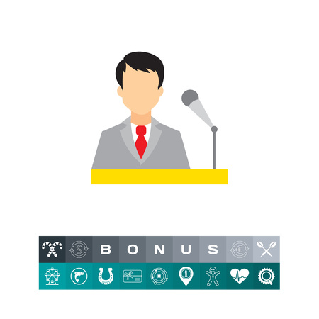 Icon of businessman at speakers stand with microphone Illustration