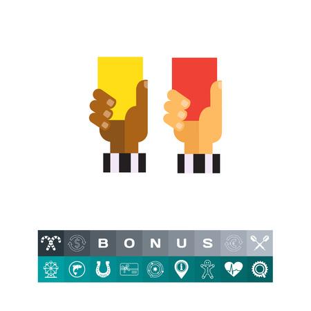 violación: Icono del vector del árbitro manos con tarjetas rojas y amarillas
