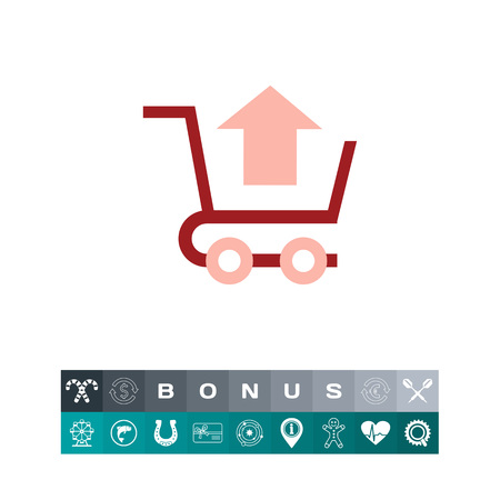 Icon of shopping cart with up-directed arrow Иллюстрация
