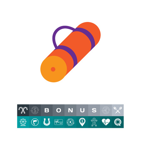 rolled up: Icon of rolled-up orange tourist mat. Illustration